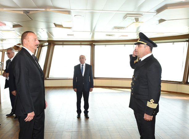 Ilham Aliyev attended launch of Khankendi subsea construction vessel (Video)
