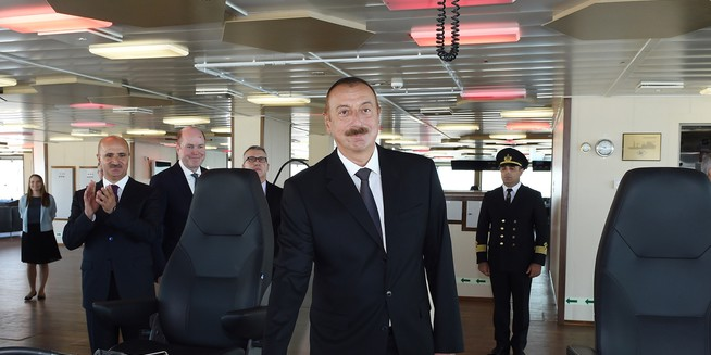 Ilham Aliyev attended launch of Khankendi subsea construction vessel